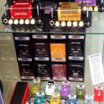 Hotone mini amp heads, Hotone mini pedals, Mooer mini pedals, Source Audio pedals.