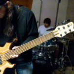 Nathan plays his custom Basone 6-string bass