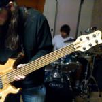 Nathan plays his custom Basone 6-string bass