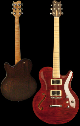 Honduran Mahogany chambered body. Carved bookmatched Flamed Maple top featuring original Basone f-hole.