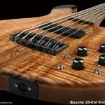 Handcrafted 6-string Bass Guitar, 25-fret, bottom of body detail shot
