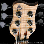 Custom 6-string bass, Flame Maple headstock veneer