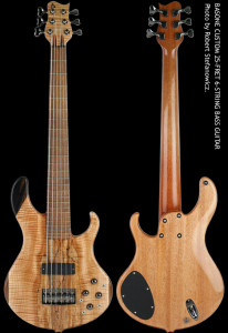 6-string Bass Guitar, 25-fret, chambered Mahogany body, Spalted Maple top with Walnut and Ebony accents