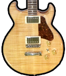 Flat flame Maple top guitar, solid Mahogany body, natural finish. Tortoise pickguard.