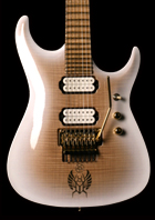 Custom 7-string guitar with scalloped frets