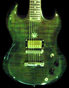 Custom sg-shaped guitar, emerald green, with pot leaf inlay