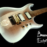 Custom 7-string guitar, Maple Mahogany hybrid chambered body, snow white sunburst