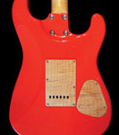 Lefty strat shaped handcrafted guitar, back of Alder body, Viper Red finish.