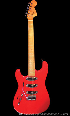 Left-handed strat shaped handcrafted guitar, Alder body, Viper Red finish.