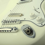 3/4 size electric guitar, Strat shaped, Alder body. white finish