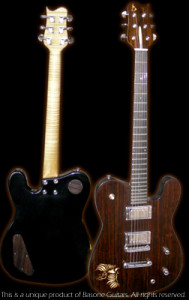 Tele shaped guitar, rosewood top, mahogany body, handcrafted in Vancouver at Basone. Front and back view