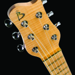 Custom Slide Guitar, Flamed Maple headstock veneer close up