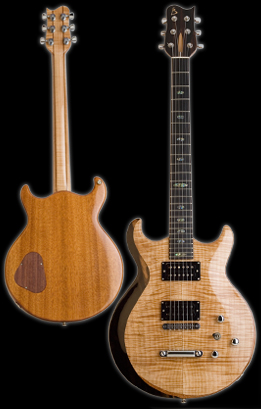 Carved double cut-away solid Honduran Mahogany body with flame Maple carved top, featuring custom Indian Ebony bevel. Hybrid Maple/Mahogany neck. Natural finish. Photo by Robert Stefanowicz