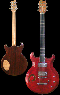 Phoenix handcrafted guitar, chambered, maple top, broken-circle soundhole, or o-hole. Front and back picture.
