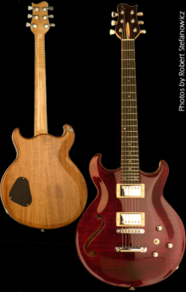 Carved double cut-away chambered Mahogany body with bookmatched carved B.C. flame Maple top, featuring one custom sound hole. Trans Red finish with natural back, Natural binding.