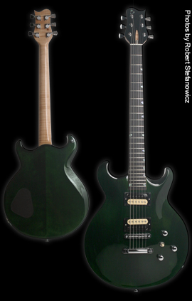 Phoenix Handcrafted Guitar, Carved double cut-away Alder body. Green Velvet finish, no binding.