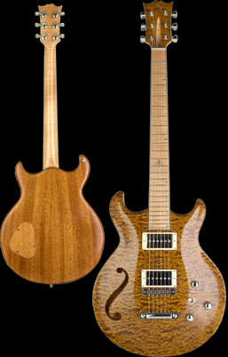 Phoenix handcrafted guitar, Carved double cut-away chambered bookmatched Honduran Mahogany body with quilted Maple top, featuring one custom sound hole. Trans Vintage Orange finish with natural back, Natural binding.