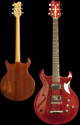 Phoenix handcrafted guitar, Carved double cut-away chambered bookmatched Honduran Mahogany body with flame Maple top, featuring one custom sound hole. Trans Red finish with natural back, Natural binding. Photo by Robert Stefanowicz