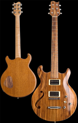 Phoenix Custom guitar, Carved double cut-away chambered bookmatched Honduran Mahogany body with Brazilian Angico carved top, featuring one custom sound hole. Natural finish. Photo by Robert Stefanowicz