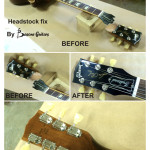 headstock was cracked in two pieces, fixed by basone