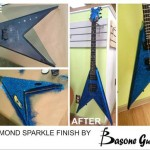 "Blue Diamond Sparkle finish on BC Rich ""V"" guitar"