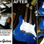"We converted two Fender Squier strats into a double neck guitar, as a prop for a commercial - same one that used the BC Rich ""V"" that we finished sparkle blue. This double neck is soo much fun, plays great and doesn't weigh a lot due to the basswood bodies"