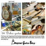 This 1934 Dobro guitar came to the shop in bad shape. We gave it 2 new carbon fiber truss rods (non-adjust but for extra support), new ebony fingerboard with matching vintage cream binding, a vintage bone nut and brass compensated bridge (both carved from scratch), fixed all the electronics and gave it a setup. No need to refinish it, kept it aged. The customer wanted to add a jewel light to it, so we installed an amber light to match the vintage look, with an on/off switch. The jewel can be easily changed to a green light instead, depending on the mood.