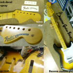 Fender Stratocaster repair. Headstock decal and respray, pickup rout, custom pickguard and more