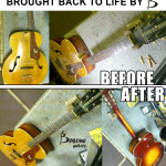 Acoustic guitar repair by Basone. Put neck and body back together, gave it a setup, fret dress, restring, polish. Brought it back to life