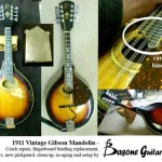 1911 Vintage Gibson Mandolin repair - We fixed a few major cracks, replaced the fingerboard binding, gave it new tuners, new tortoise pickguard, a cleanup and setup, and finally re-aged it to look more authentic