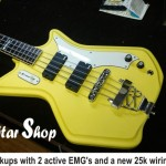 Airline Bass TV Yellow body refinish - We had to fill the old volume holes before paint, now 2 remain! After painting TV yellow, we also upgraded the pickups with 2 active EMG's and a new 25k wiring job (& switchcraft jack)....Voila