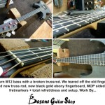 This Washburn M12 bass had a broken trussrod. We were able to tear off the old fingerboard, install new truss rod, new black gold ebony fingerboard, MOP sidedots and fretmarkers + total refret/dress and setup