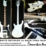 White refinish on neck-thru bass - the customer wanted his Ricky white (it was originally cherry sunburst), so we made it happen, plus gave it a new custom cut pickguard, matching trussrod plate base (to make the original stand out), gave it a setup... and voila!