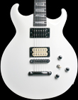 Alder body with carved top and flame Maple neck, Artic white finish. Basone Phoenix model