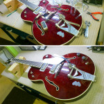 Electronics wiring on Gretsch with faux sound holes, work by Basone
