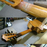 Headstock re-glue repair, neck refinish, tuner install and setup by Basone