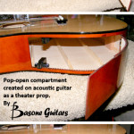 Theater Prop guitar, compartment on body created by Basone