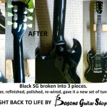 Black SG repair, was broken into 3 pieces. We repaired it, refinished, re qired, installed new tuners and set it up.