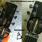 Bullet shell addition to truss rod, by Basone