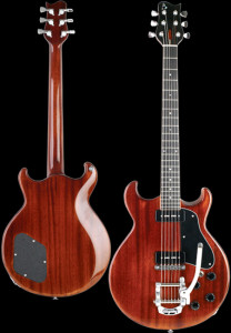 Double cut-away solid Mahogany body electric guitar, Cherry Brown Stain, gloss finish,  Black pickguard. Inspired by Mike Manvil.