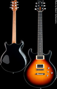 Flat top custom guitar, solid Alder body, Sunburst. Clone model