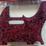 Leather Pickguard for Telecaster tele electric Guitar, Red, On sale in Vancouver Canada at Basone