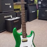 Squier by Fender Affinity Stratocaster Candy Green Sparkle finish on sale in Vancouver at Basone Guitar Shop