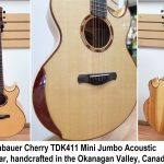 Kronbauer Cherry TDK411 All Solid Handcrafted Mini Jumbo Acoustic Guitar with body bevel, solid Spruce top and solid Cherrywood back and sides, for sale in Vancouver Canada at Basone