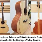 Kronbauer Zebrawood SBX408 All Solid Handcrafted Acoustic Guitar with body bevel, solid spruce top and zebra wood back and sides, for sale in Vancouver Canada at Basone