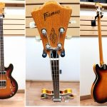Vintage 1960s-1970s Framus Hollow Body 4-string Bass, Sunburst finish. For sale in Vancouver Canada at Basone.