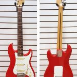 80s Squier Bullet by Fender MIK Made in Korea, original Fender saddles and tuners, 7/8 size, Fiesta red finish. For sale in Vancouver Canada at Basone