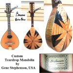 Mandolin, handcrafted by Gene Stephenson (Oregon, USA) on June 12 1999. Serial # 012. Solid top, multi-wood back. For sale in Vancouver Canada at Basone