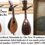 Bowlback Mandolin by The New Washburn.  It bears the Cremonatone label, which indicates it was made around 1890-1910. Serial # 147977. For sale in Vancouver Canada at Basone