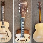 Harmony Hollywood Archtop H39 Acoustic-Electric Guitar, Natural finish, upgraded with Kent Armstrong pickup. Includes case. For sale in Vancouver Canada at Basone